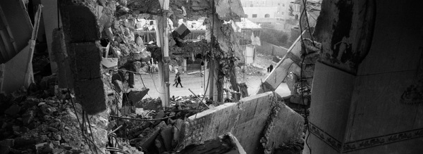 Gaza Strip January 23, 2009, destroyed multi-level apartment building from inside. Many people died in the F-16 attack during Operation Cast Lead.