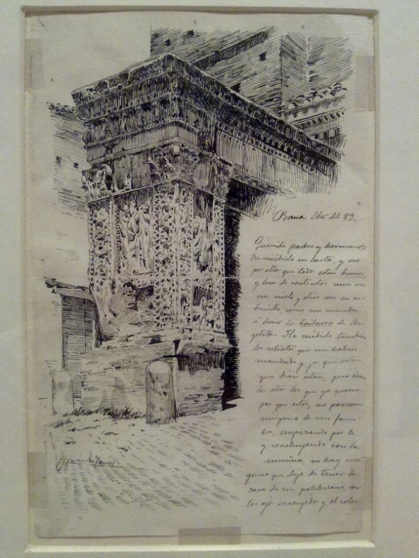 Rafael Romero de Torres: Carta con dibujo de Arco de los Plateros en Roma, 1889, plumilla en papel verjurado