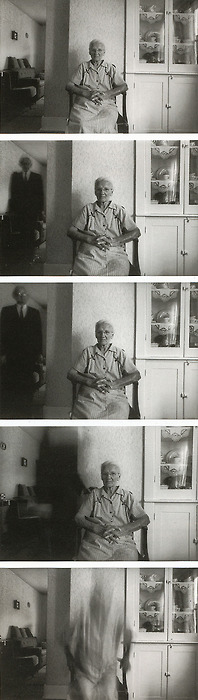 Duane Michals - Death Comes to the Old Lady, 1969