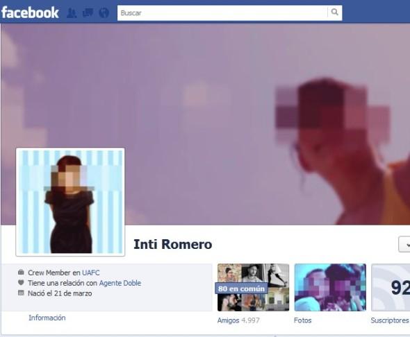 Inti Romero: Perfil de Facebook