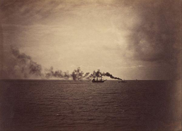 Gustave Le Gray - Paisaje marino con velero y remolcador, 1857
