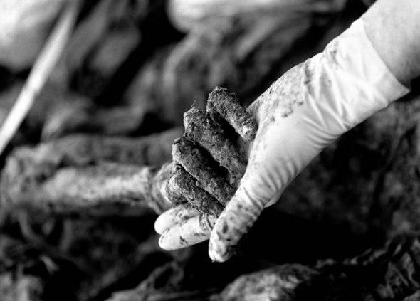 Tarik Samarah - Secondary mass grave from which 506 incomplete corpses were exhumed Eva Klonowski, anthropologist from Iceland, holding a victim's arm, Kamenika near Zvornik, 2002