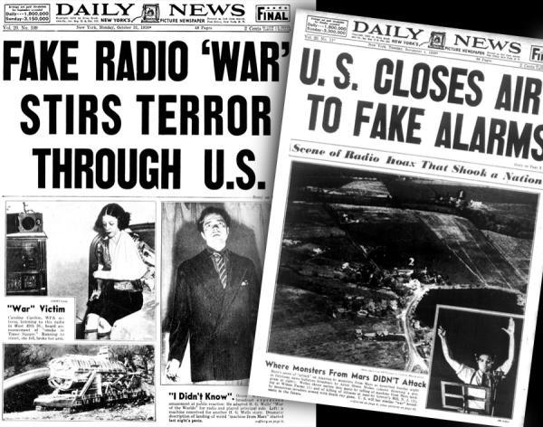Portadas del Daily News después de la emisión de La guerra de los mundos por Orson Welles en la CBS, 1938