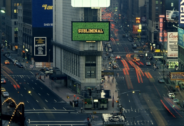 Muntadas, This Is Not an Advertisement, Times Square, New York, 1985. Photo: Pamela Duffy. © Muntadas / ADAGP, Paris, 2012.